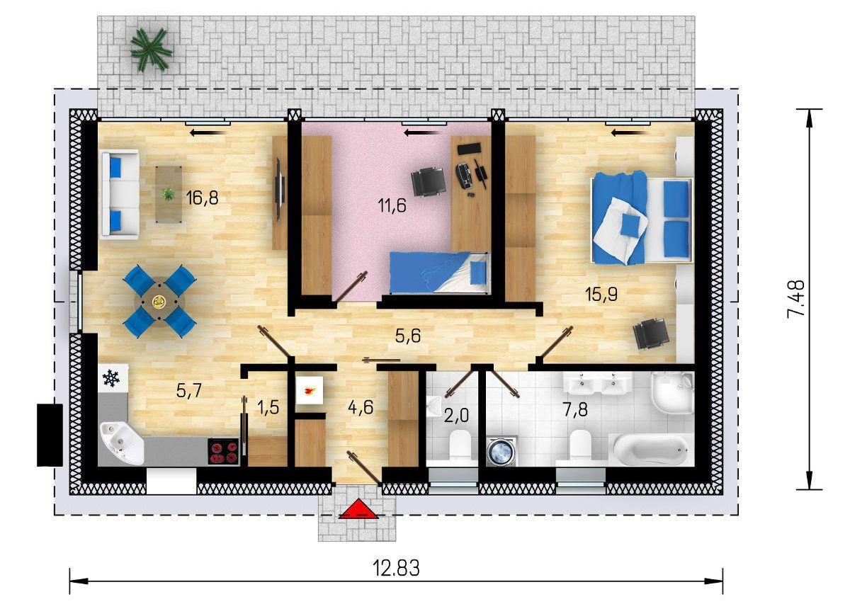 Půdorys pasivního domu GS Pasiv 12