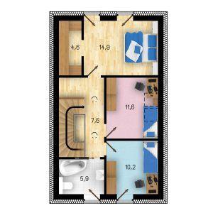 Půdorys prvního patra domu GS Pasiv 14