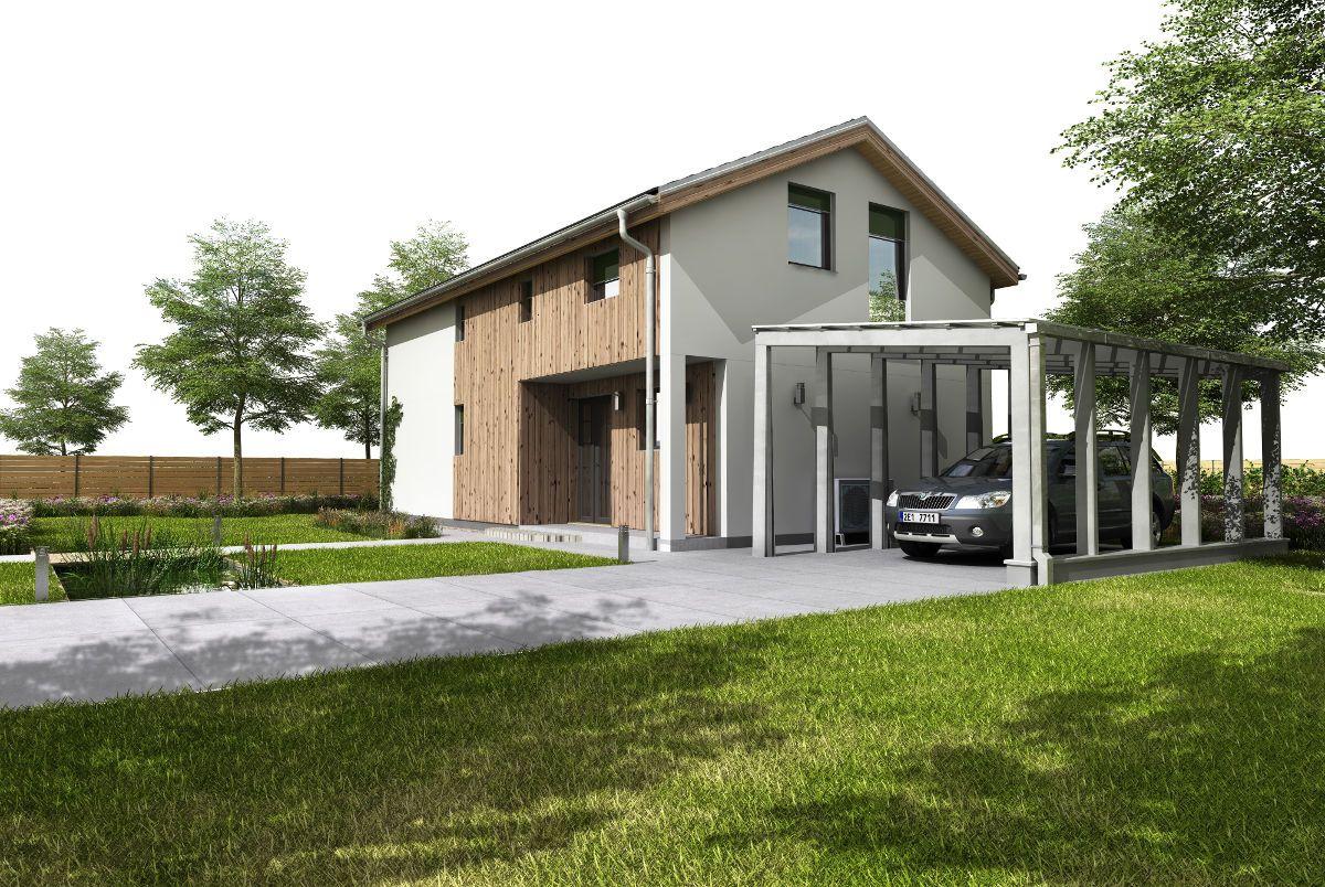Pasivní dům GS Pasiv 16 s přístřeškem pro auto