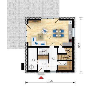 Půdorys přízemí domu GS Pasiv 22