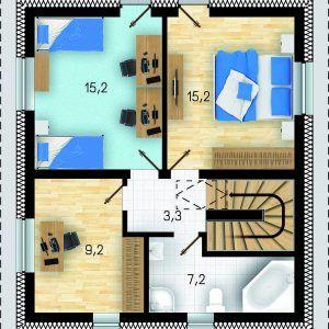 Půdorys prvního patra domu GS Pasiv 22