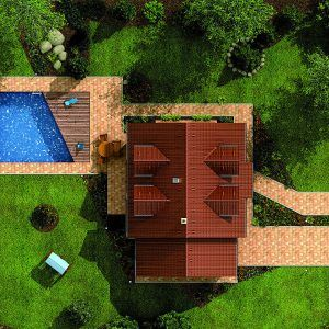 Rodinný dům Hit 2 Plus z ptačí perspektivy