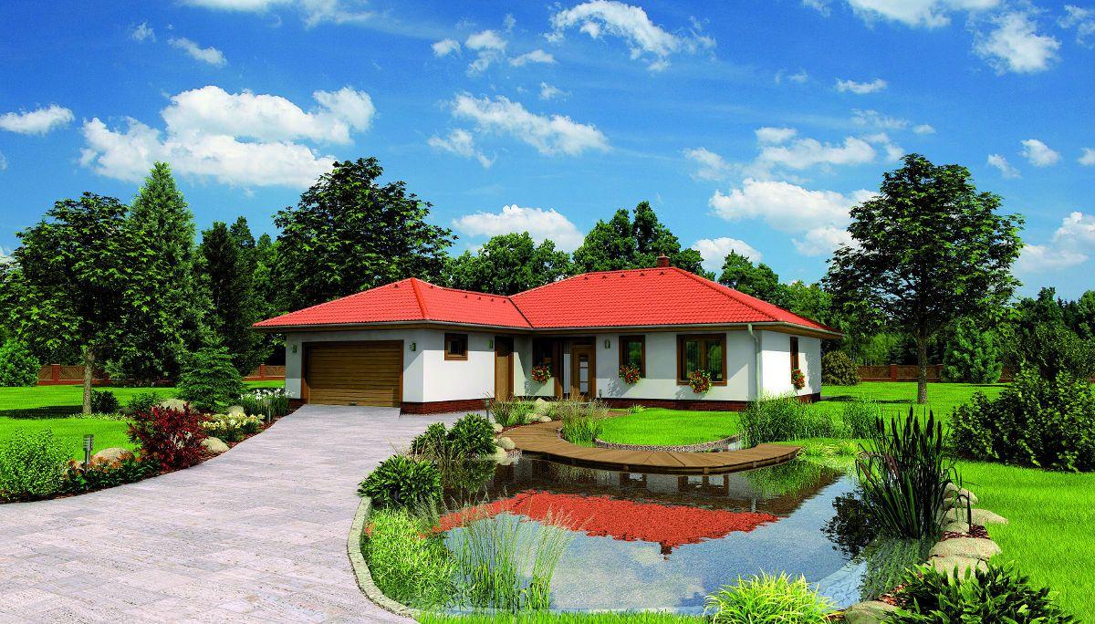 Příjezdová cesta přízemního domu Bungalow 5 Plus