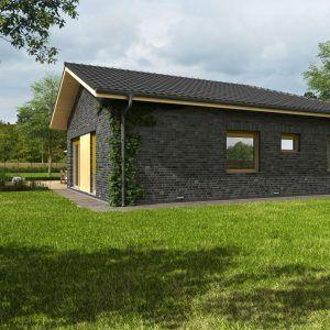Zadní pohled na bungalov Kréta