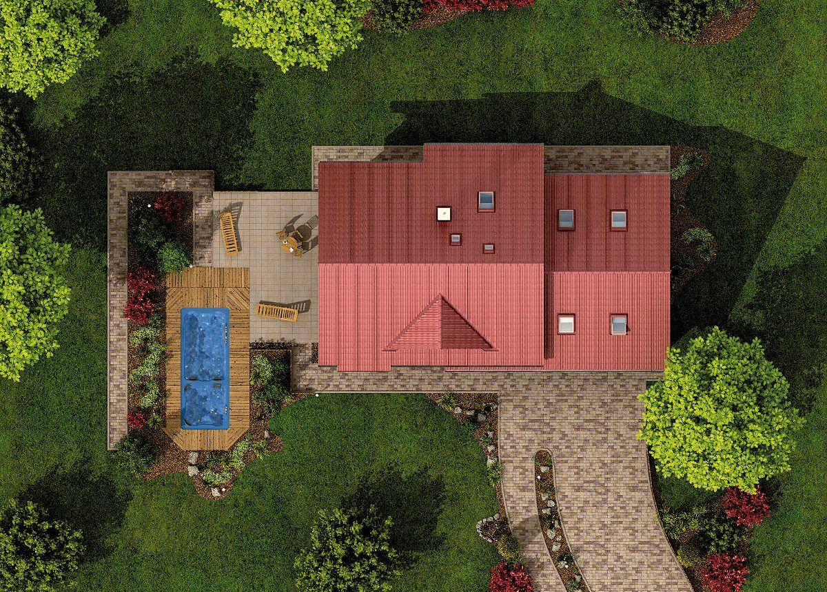 Rodinný dům Alfa 1 Plus z ptačí perspektivy