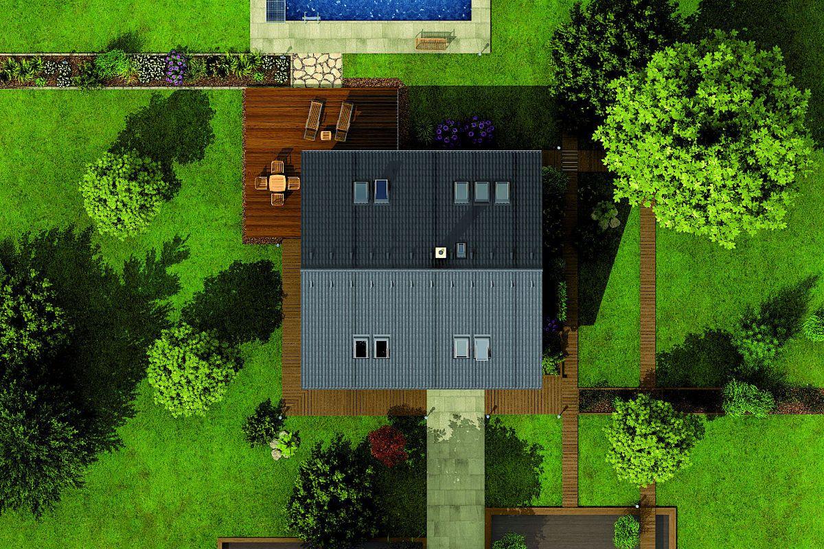 Rodinný dům Lyra z ptačí perspektivy