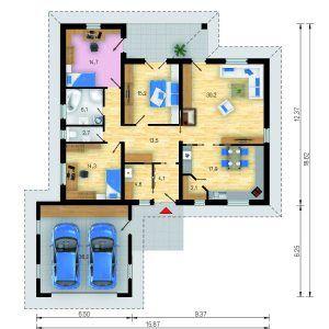 Půdorys přízemního domu Bungalow 5 Plus